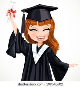 graduation girl cartoon images  stock photos   vectors cute kid clipart space black and white cute kids clipart saying hi
