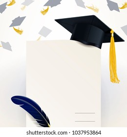 diploma of graduation and graduate cap on a light background