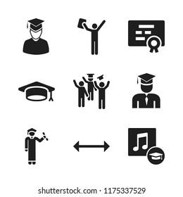 diploma icon. 9 diploma vector icons set. graduate, certificate and graduations music icons for web and design about diploma theme