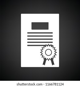 Diploma icon. Black background with white. Vector illustration.