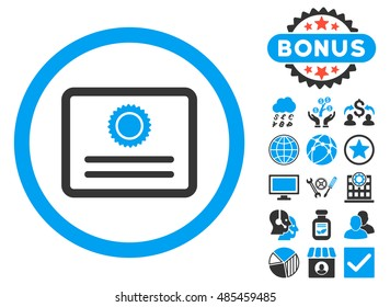Diploma icon with bonus images. Vector illustration style is flat iconic bicolor symbols, blue and gray colors, white background.