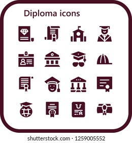 diploma icon set. 16 filled diploma icons. Simple modern icons about  - Certificate, School, Graduation, Accreditation, Courthouse, Mortarboard, Cap, Graduated, Diploma, Education