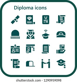 diploma icon set. 16 filled diploma icons. Simple modern icons about  - Diploma, Certificate, Cap, Graduation, University, Accreditation, Education, Papyrus, Agreement, Mortarboard