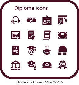 diploma icon set. 16 filled diploma icons.  Simple modern icons such as: Lesson, Diploma, Accreditation, Education, Papyrus, Certificate, Graduation, University, Cap, Courthouse
