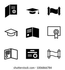 Diploma icons. set of 9 editable filled and outline diploma icons such as diploma, manuscript