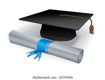Diploma and mortar in silver
