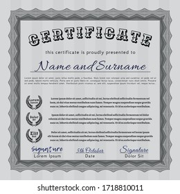 Diploma.  Nice design.  With complex linear background.  Customizable, Easy to edit and change colors.  Grey color.