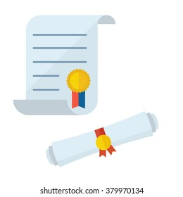 Diploma scroll collection. Unrolled and rolled diploma paper icon with stamp. Graduation test blank isolated on white.
