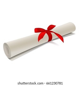Diploma scroll with red bow on isolated white background. Rolled paper. Vector illustration.