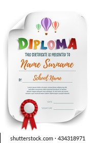 Diploma template with air balloons isolated on white background. Vector illustration.