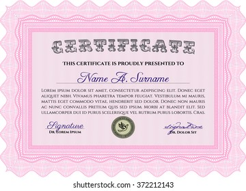 Diploma template. Border, frame. With background. Excellent design. Pink color.