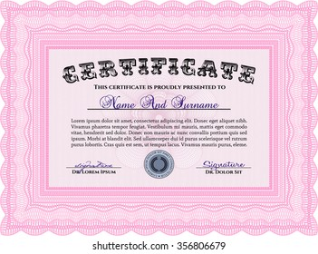 Diploma template or certificate template. Nice design. Complex background. Vector pattern that is used in money and certificate.