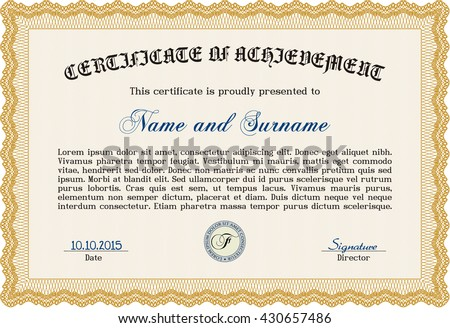 Diploma Template Certificate Template Quality Background Stock