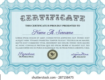 Diploma template or certificate template. Vector pattern that is used in currency and diplomas.Complex background. Superior design.