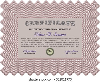 Diploma template or certificate template. Vector pattern that is used in money and certificate.With quality background. Cordial design.