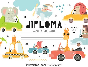Diploma template with cute kids transport and animals for kids, certificate background with hand drawn fox, bear, giraffe, elephant, lion for school, kindergarten. Vector illustration. Place for text.