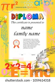Diploma template for kids, certificate background. Background from scientific formulas. Mathematics, physics, chemistry. Vintage Hand drawn hand writing with a feather pen. Vector illustration