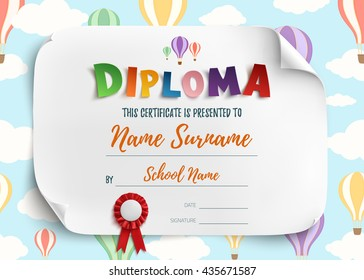 Diploma template for kids, certificate background with air balloons. Vector illustration.