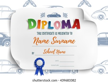 Diploma template for kids, certificate background with racing cars for school, preschool or playschool.  Vector illustration.