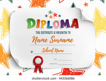 Diploma template for kids, certificate background with hand drawn colorful stars for school, preschool or playschool. Vector illustration.