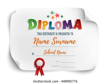 Diploma template for kids, certificate background with hand drawn colorful stars for school, preschool or playschool isolated on white. Vector illustration.