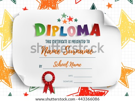 Diploma Template Kids Certificate Background Hand Stock Vector