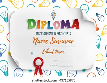 Diploma template for kids, school, preschool, playschool, certificate background. Vector illustration.