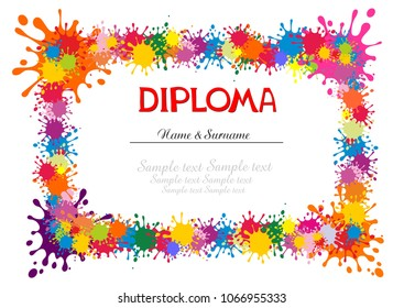 Diploma termination preschool program training children. Official document educational institution. Concept design diploma education. Flat vector. Diploma template for kindergarten students. Vector