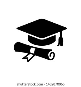 Diploma vector graphics solid icon in black color