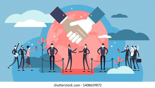 Diplomacy vector illustration. Flat tiny international politic friendship persons concept. Global meeting and conflict crisis peaceful discussion. Economical negotiation and cooperation support talk.