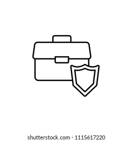 diplomat and shield line icon. Element of insurance sign for mobile concept and web apps. Thin line diplomat and shield icon can be used for web and mobile. Premium icon on white background