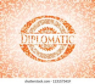 Diplomatic abstract emblem, orange mosaic background