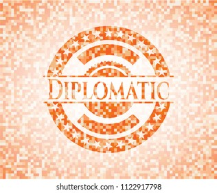 Diplomatic abstract orange mosaic emblem