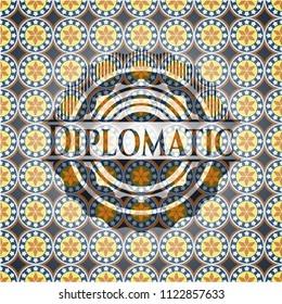 Diplomatic arabic badge background. Arabesque decoration.