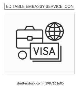 Diplomatic assignment line icon. Government in another state. Help citizens with visas and temporary residence. Embassy service concept. Isolated vector illustration. Editable stroke