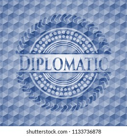 Diplomatic blue badge with geometric background.