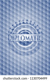 Diplomatic blue emblem or badge with geometric pattern background.