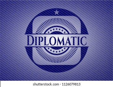 Diplomatic emblem with jean texture