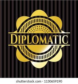 Diplomatic gold shiny badge
