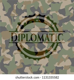 Diplomatic on camouflage texture
