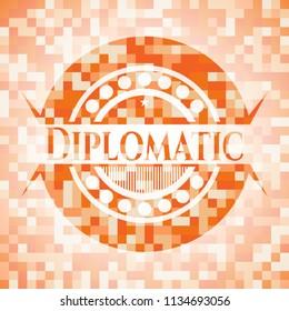 Diplomatic orange mosaic emblem