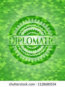 Diplomatic realistic green emblem. Mosaic background