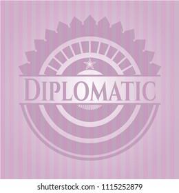 Diplomatic retro Diplomatic retro style pink emblemstyle pink emblem
