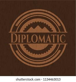 Diplomatic retro style wood emblem