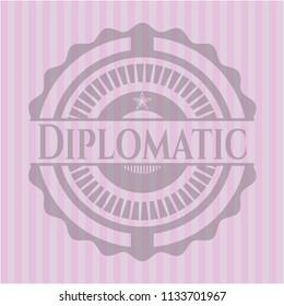 Diplomatic vintage pink emblem