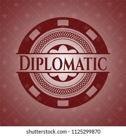 Diplomatic vintage red emblem