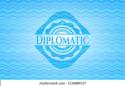 Diplomatic water wave concept style badge.