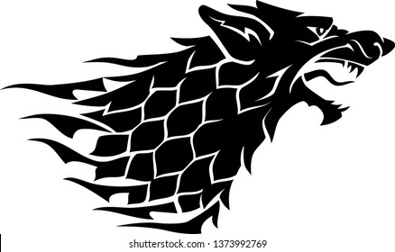 Dire Wolf Head Side View Silhouette Sigil