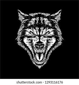 dire wolf head vector illustration