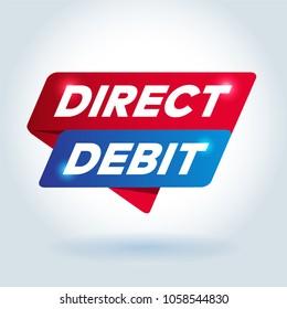 DIRECT DEBIT arrow tag sign.